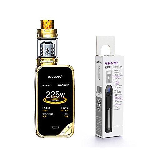 Autentico SMOK X PRIV Kit 225W TFV12 PRINCE 2mL Tank (Oro) con PEACEVAPE  18650 Caricatore Slim a 1 slot SMOK XPRIV Senza Nicotina Sigaretta Elettronica