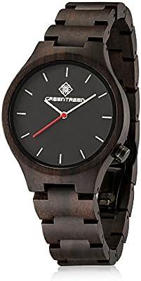 GREENTREEN estilo unisex Relojes de madera hechos a mano Negro