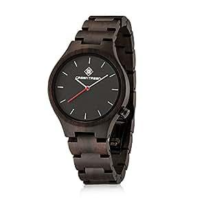 GREENTREEN Armbanduhr für Männer Quarz Armbanduhr mit Natur handgefertigte schwarze Sandelholz