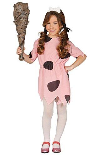 Guirca Steinzeitkostüm Höhlenfrau Kinderkostüm Höhlen Höhlenmensch Comic TV Star Kleid Mädchen 98-146, - Mädchen Pebbles Feuerstein Kostüm