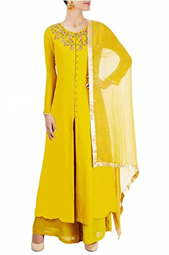 Ethnic Empire Women\'s Faux Georgette Semi Stitched Anarkali Salwar Suit (Ethnic_FlexER10779_Yellow_Free Size)