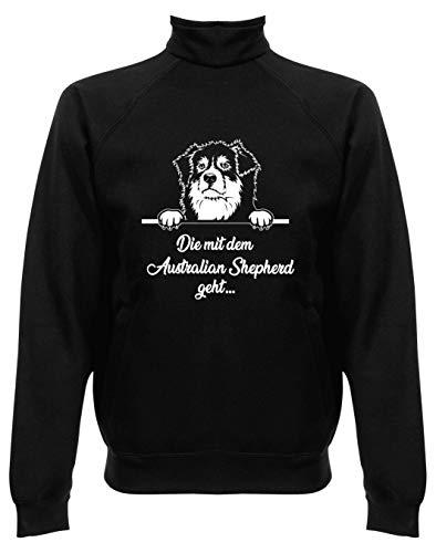 BlingelingShirts Damen Sweatjacke ohne Kapuze Australian Shepherd Die mit dem Australian Shepherd geht, Jacke, Druck weiß, Grösse L, schwarz Australian Shepherd Sweatshirt