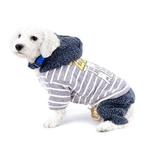 selmai Wintermantel für kleine Hunde mit Kapuze Fleecefutter gestreift Sport Coat Schneeanzug Overall four-legs Pants Super Warm Chihuahua Kleidung kaltem Wetter Mänteln