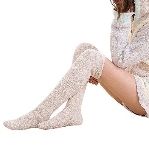 Likecrazy Damen warm lange Socken Indoor Overknee Strümpfe Stricken Leggings Boot-Abdeckung Socken Mädchen Mesh Fleece Stickerei Handtuch Boot Socken(Kaffee,one ()