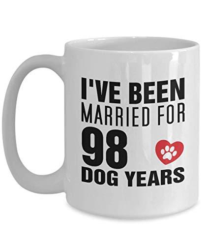 Geschenk zum 14. Hochzeitstag für Hundeliebhaber und Ihn - lustiges Geschenk zum 14. Hochzeitstag/Ehemann - 14 Jahre Hochzeit, Ehefrau, Geschenk für Hund, Kaffeetasse, Teetasse, 325 ml, Weiß
