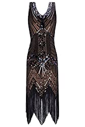 Metme Women's 1920s V Neck Beaded Fringed Gatsby Theme Flapper Dress For Prom (S, Coffee)