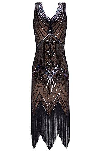 Metme Damen der 1920er Jahre V Ausschnitt Perlen Fransen Gatsby Thema Flapper Kleid für...