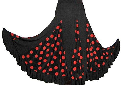 Falda de flamenco para mujer, color negro con lunares rojos, tallas: S/M/L/XL/XXL, extra-large