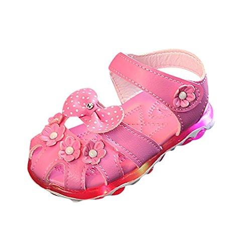 Kinder Sandalen,Sannysis Sommer Kind Mädchen LED Licht Blume Bowknot Princess Luminous Sandalen Schuhe Wildledersohle Lauflernschuhe mit Klettverschluss 21-30 (26, Heißpink) (23-kristall-licht)