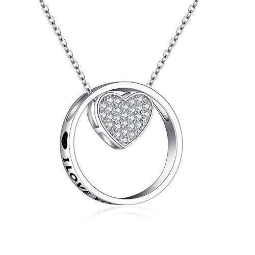 Damen Kette Herz Anhänger 925 Sterling Silber Schmuck für Frauen Anhänger Love You Foreve,kommt in Schmuck-Geschenk-Box, Nickelfrei, 45+5cm (Pfote Silber Ring Sterling)