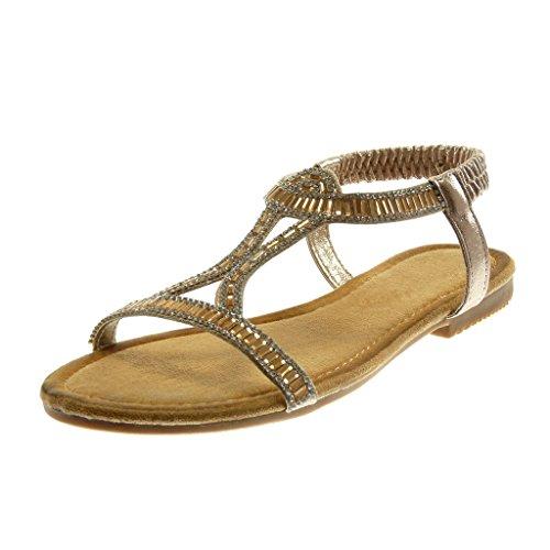 Angkorly Scarpe Moda Sandali Slip-On Cinturino con Cinturino Alla Caviglia Donna Strass Lucide Tacco a Blocco 1.5 cm Oro