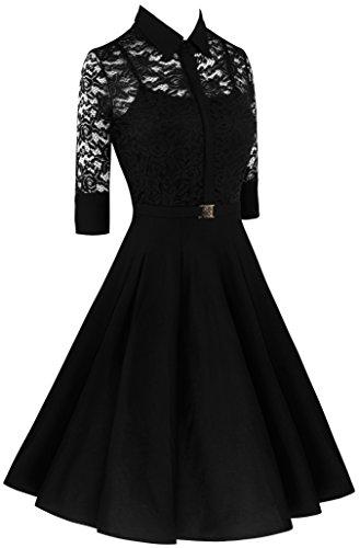 Angerella Damen Retro Spitze Kleid 3/4 Ärmel tiefer V-Ausschnitt schmale Taille Partykleider Schwarz