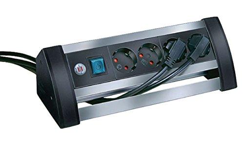 Preisvergleich Produktbild Eurosell Verlängerungssteckdose Tisch Desktop Büro Werkstatt Labor Steckdosenleiste mit Überspannungsschutz Alu-Office-Line 4-fach 1.80 m - Schutzkontakt