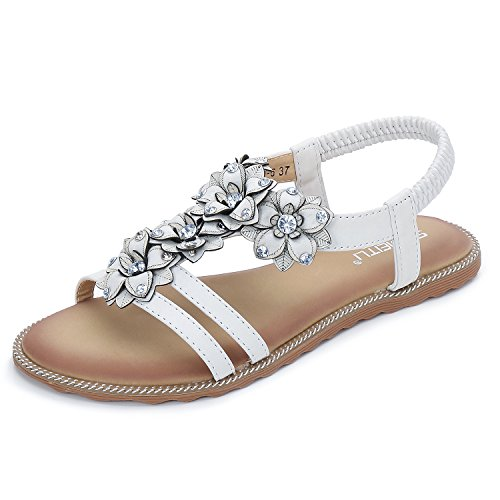 KUONUO Damen Sommer Sandalen PU Leder Strass Blume Bohemian Flach Strand Zehentrenner Frauen Mädchen Sandals(Weiß,41 EU)