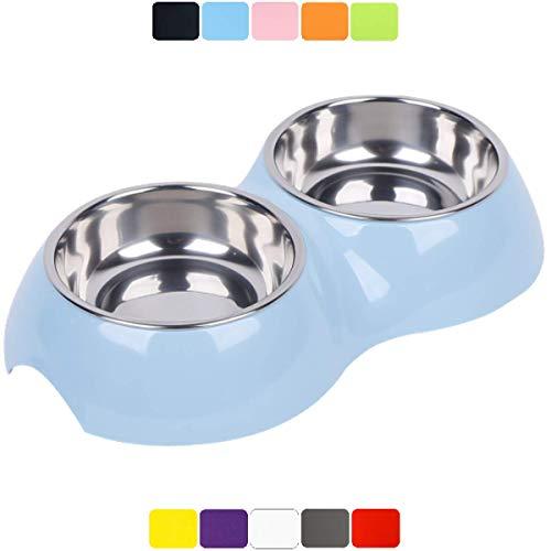 DDOXX Doppel-Fressnapf, rutschfest   viele Farben & Größen   für kleine & große Hunde   Futter-Napf Katze doppelt   Hunde-Napf Hund   Katzen-Napf Edelstahl-Napf   Melamin-Napf   Blau, 2 x 160 ml