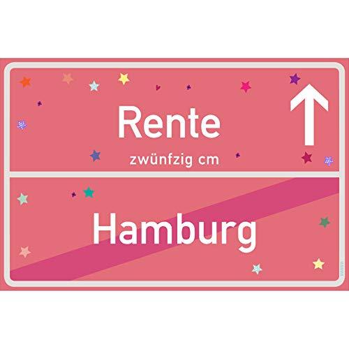 vanva Rente Schild Rente Hamburg Schild rosa Rente-Ortsschild Ortstafel Wanddeko Party süße Geburtstag Geschenk Frauen Geschenkidee Männer 30x20 cm Schild mit Sprüchen Rente Sachen