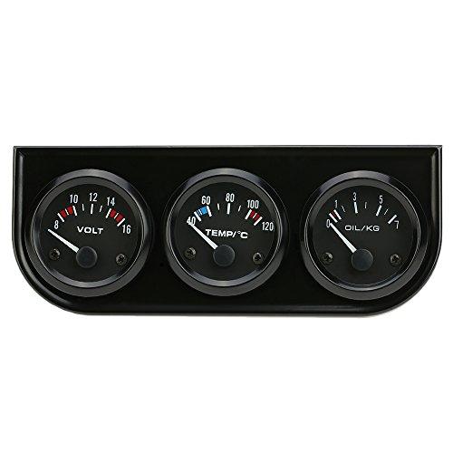 Kit calibro triplo elettronico da 52 mm, pressione olio, temperatura dell'acqua, voltmetro, misuratore per moto auto 3 in 1