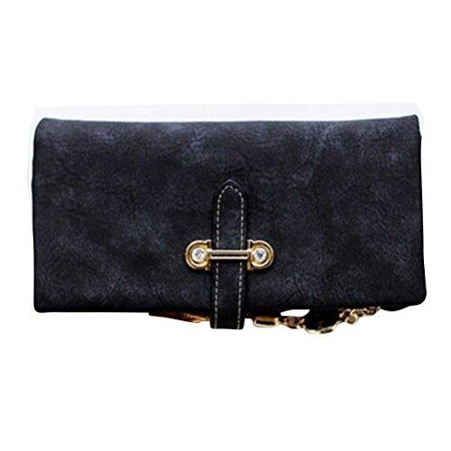 Portefeuille noir Portefeuille cuir Portefeuille long Titulaire de carte Sac à main Portefeuille pour homme et femme - noir