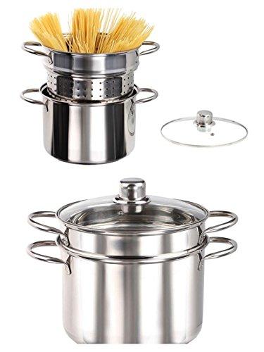 Deckel Topf Mit Sieb Pasta (Induktion Edelstahl Spaghetti Topf mit Sieb Kochtopf Set 3 Teilig Pastatopf Siebeinsatz (Spargeltopf, 6 Liter, Glasdeckel, Nudelsieb))