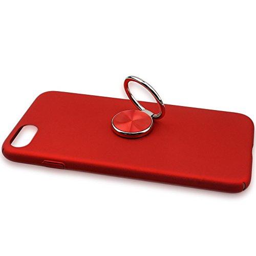 Staffa per anello a forma di goccia auto pigro, anello di presa con anello per il loop supporto per stent universale per smartphone attaccabile a magnetico supporto per auto rotazione a 360 ° flip di 180 ° (rosso)
