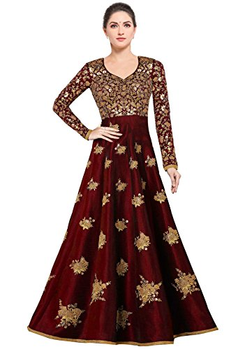 Siddeshwary Fab Women's Bangalore Silk Anarkali Gown (Red_ semi stitched_Free Size