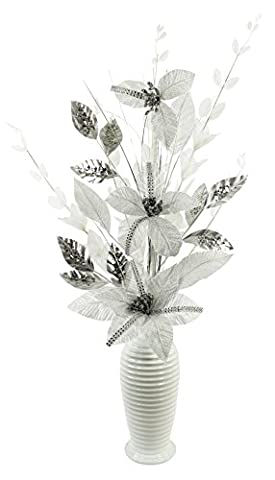 Silver and White Diamante Glitter Artificial Flower in White Vase, Table Decorations, Home Accessories, Window Ornament, Living Room Flowers, Height