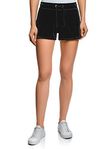oodji Ultra Damen Shorts aus Samtigem Stoff mit Bindebändern, Schwarz, DE 38 / EU 40 / M (Frau Shorts)