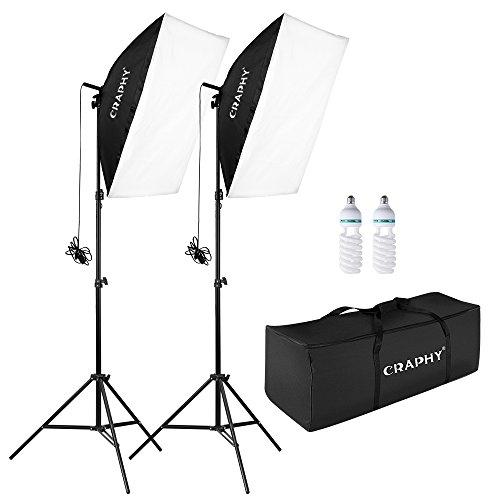 CRAPHY 700W 50cmx70cm Foto Studioleuchte Softbox Kit Fotostudio Set mit Tragetasche, 2x85W 5500K 45W Glühlampe für Video Blogging (Hintergrund Kit)