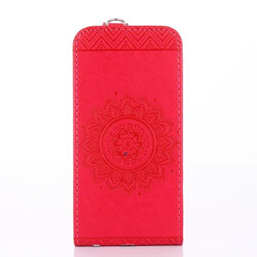 iphone 6 plus/6S plus Caso,iphone 6S plus di caso di vibrazione, copertura di cuoio della iphone 6 plus PU in Pelle, Ekakashop caso Verde Mandala Retro di vibrazione del modello della cassa del telefo Rosa Caldo