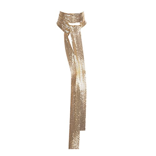 Agoky Damen Schals Lang Halstuch Metallic Krawatte Glitzer Pailletten Showgirl Kostüm Abend Party Weihnachten Schlips Clubwear Nachtclub Gold One_Size