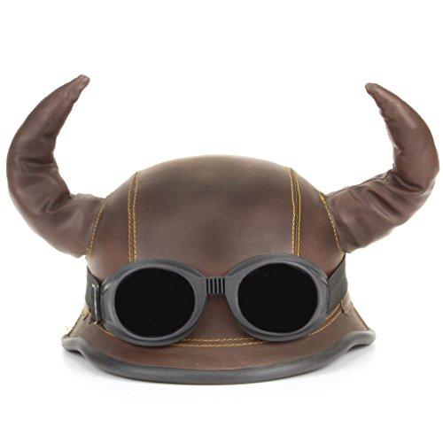 LOUDelephant Viking gehörnten Neuheit Festival Helm mit Brille (One Size) Gr. Einheitsgröße, Braun - Braun (Gehörnter Helm)