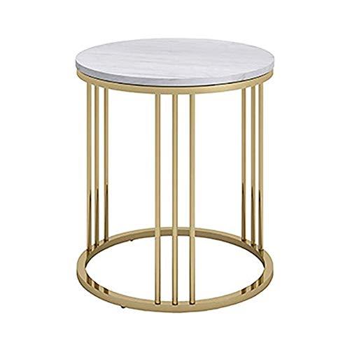 LINlz Runder Marmor-Teetisch, Büro-Beistelltisch von Company Boss, Schmiedeeisen-Couchtisch (Farbe: Gold, Größe: 50 * 55 cm)