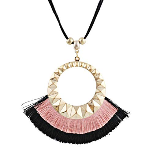 MingXinJia Damen-Mode-Pop-Geometrie Großer Kreis mit Langem Mehrlagigem Troddel-Pullover, Rosa