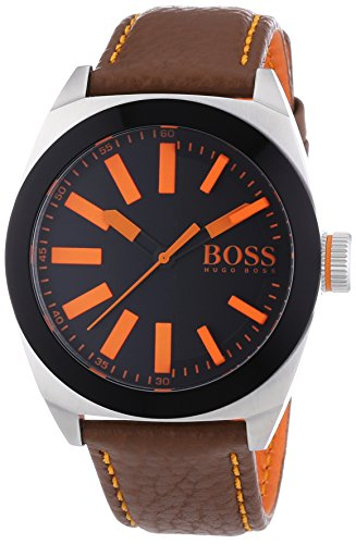 BOSS Orange XL London Men's Quartz Watch with Black Dial Analogue Display and Gold Leather 1513055