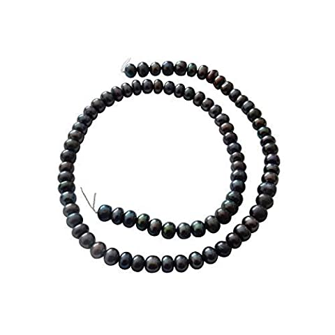 Peacock Black Freshwater Pearl Button Shaped Beads 6/7mm diameter loose string for jewellery making