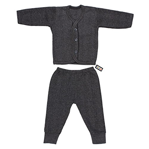Littly Front Open Kids Thermal Top & Pyjama Set for Baby Boys & Baby Girls (Grey)