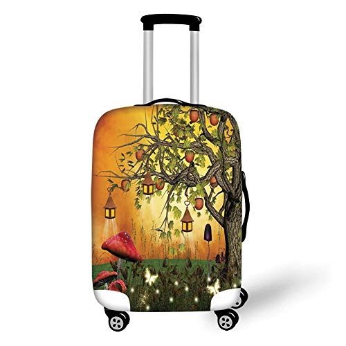 Travel Luggage Cover Suitcase Protector,Fantasy House Decor,Wonderland Forest with Fairies Butterflies Elves and Apple Tree Magical Universe,Multi,for Travel M Apple Bottom Sneakers
