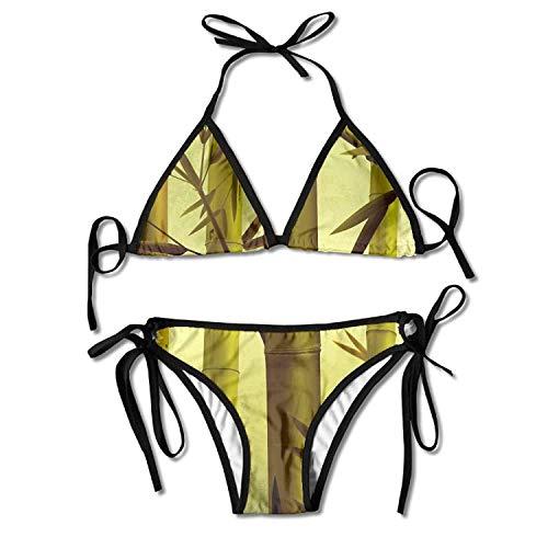Autumn Season Bamboo Forest Bikini Women's Summer Swimwear Triangle Top Bikinis Swimsuit Sexy 2-Piece Set -