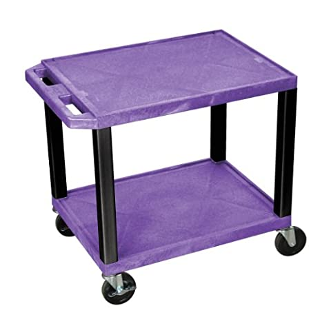 Offex 2 Shelves Mobile Multimedia Presentation Multipurpose Storage Service Utility Cart No Electric Purple and