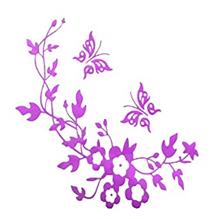 Amybria Toilet Stickers Wall Art Decal Removable DIY Quote Toilet Bathroom Stickers Purple Flower