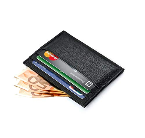 B&C Store portafoglio portacarte uomo donna in vera pelle slim minimalista per carte di credito contanti banconote unisex wallet