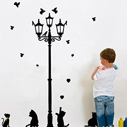 (Cat under the Street light) - Cat under the Street light DIY Removable Art Vinyl Quote Wall Sticker Decal Mural Home Room Decor