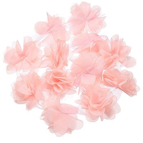 Yalulu nastro di decorazione per abiti, 4,6m, in chiffon, con fiori in tessuto, per abiti da sposa, rosa, 5yards