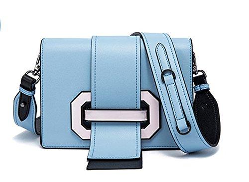 Xinmaoyuan Borse donna borsa femmina di pompaggio lungo con cuoio quadrato piccolo spallamento incrociate in diagonale Hit Color borsette in cuoio Blue