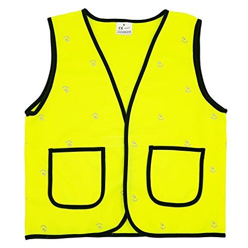 Camilife Kinder Warnwesten Hohe Sichtbarkeit Sicherheitsweste Reflektierende Westen Klettverschluss - Fluoreszenz Gelb Größe M