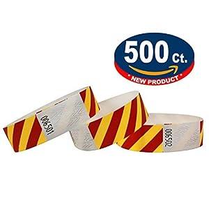 eventos: Tyvek Pulseras - A rayas - 500 unidades - Tyvek pulseras para eventos (Amarillo-...
