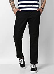 Monte Carlo Black Solid Regular Fit Trouser