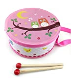 Baby Instruments 15cm Doppelseitiges Drucken Tamburin Handtrommel Musikinstrument mit Stock (Rosa Eule)