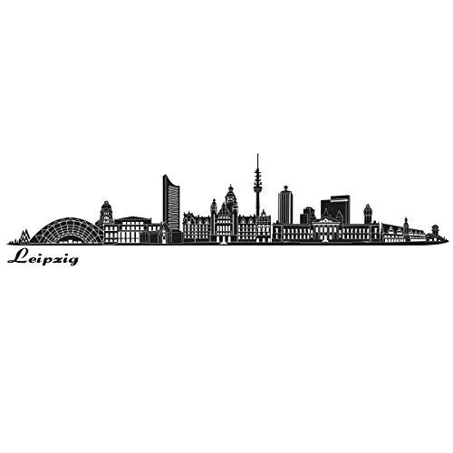Wandkings Skyline - Deine Stadt wählbar - Leipzig - 125 x 25 cm - Wandaufkleber Wandsticker Wandtattoo