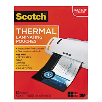 Scotch Thermal Laminator Pouches 3 Mil 50/Pkg-8.9